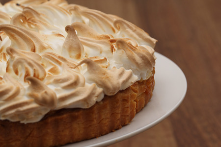 serving dish: Lemon Meringue Pie on Serving Dish Stock Photo