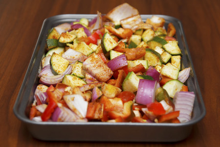 seasoned: Fresh seasoned vegetables for roasting