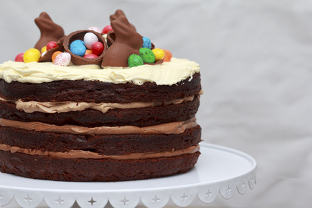 layer cake: Triple Chocolate Nutella Easter Layer Cake, Easter decoration