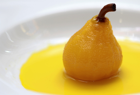 Poached Pears on white plate