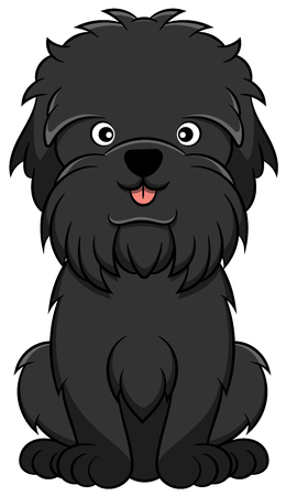 Cute Affenpinscher Cartoon Dog. Vector illustration of an affenpinscher dog breed.
