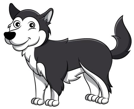 Cute Alaskan Malamute Cartoon Dog. Vector illustration of an alaskan malamute dog breed. Illustration