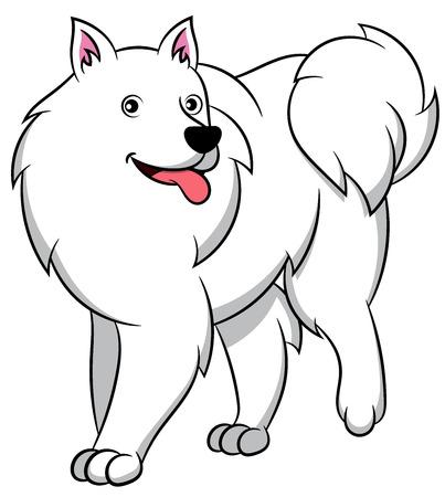 Cute American Eskimo Cartoon Dog. Vector illustration of an american eskimo dog breed. Vetores