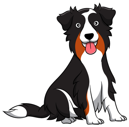 Cute Australian Shepherd Cartoon Dog. Vector illustration of an australian shepherd dog breed.