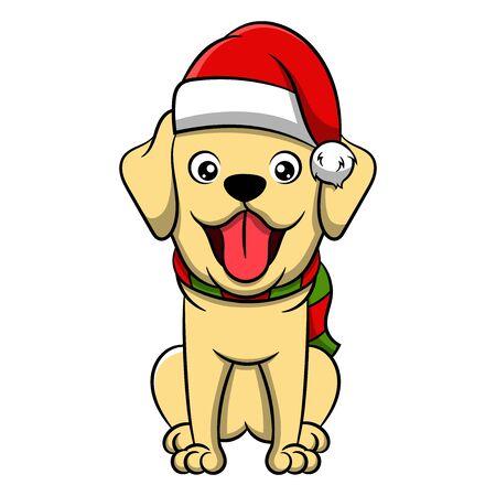 Perro de dibujos animados feliz Navidad Golden Retriever. Ilustración de vector de perro perdiguero de oro de Navidad de pura raza.