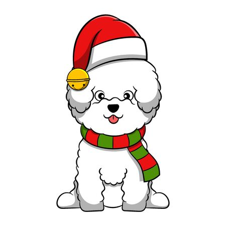 Merry Christmas Bichon Frise Cartoon Dog. Vector illustration of purebred Christmas bichon frise dog.