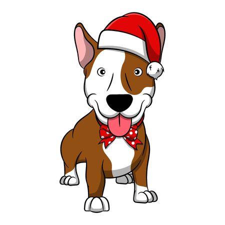 Merry Christmas Bull Terrier Cartoon Dog. Vector illustration of purebred Christmas bull terrier dog.