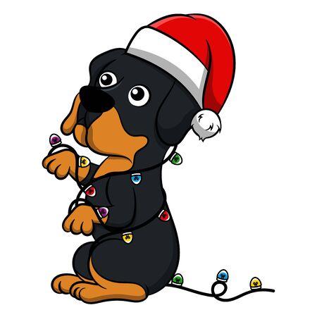 Merry Christmas Rottweiler Cartoon Dog. Vector illustration of purebred Christmas rottweiler dog. Illustration