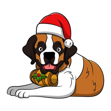 Merry Christmas St. Bernard Cartoon Dog. Vector illustration of purebred Christmas st. bernard dog.