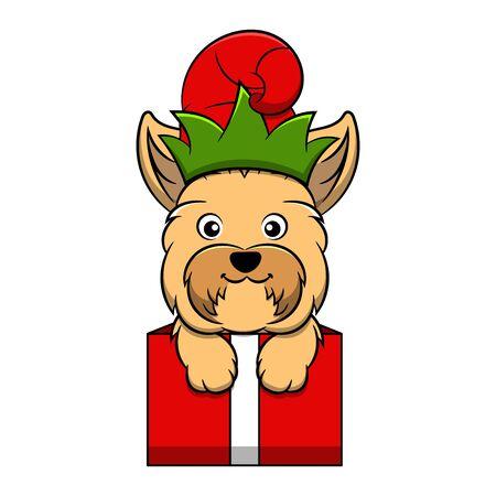 Merry Christmas Yorkshire Terrier Cartoon Dog. Vector illustration of purebred Christmas yorkshire terrier dog. Illustration