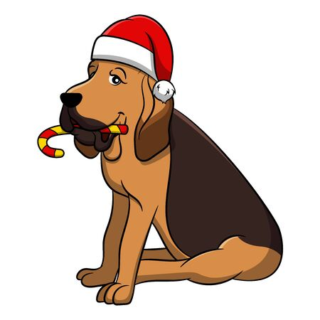 Merry Christmas Bloodhound Cartoon Dog. Vector illustration of purebred Christmas bloodhound dog. Illustration