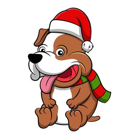 Cute Pit Bull Cartoon Dog. Vector illustration of purebred pit bull dog.