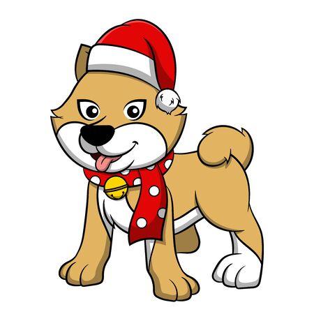 Merry Christmas Akita Cartoon Dog. Vector illustration of purebred Christmas akita dog.