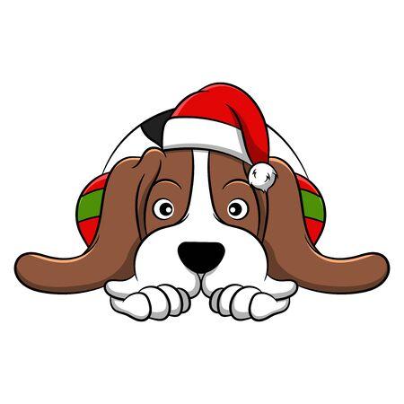 Merry Christmas Basset Hound Cartoon Dog. Vector illustration of purebred Christmas basset hound dog.