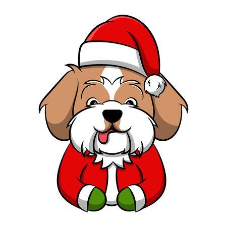 Merry Christmas Shih Tzu Cartoon Dog. Vector illustration of purebred Christmas shih tzu dog.
