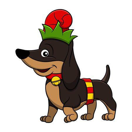 Merry Christmas Dachshund Cartoon Dog. Vector illustration of purebred Christmas dachshund dog.