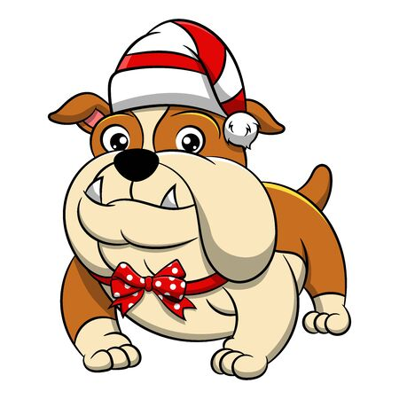 Merry Christmas Bulldog Cartoon Dog. Vector illustration of purebred Christmas bulldog dog.
