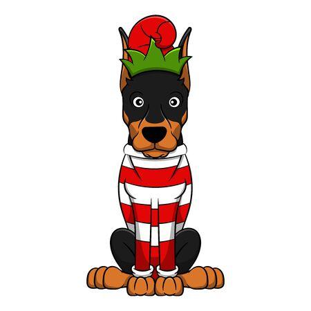Merry Christmas Dobermann Cartoon Dog. Vector illustration of purebred Christmas dobermann dog.