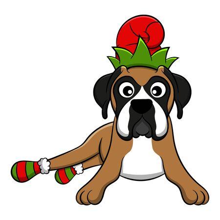 Merry Christmas Boxer Cartoon Dog. Vector illustration of purebred Christmas boxer dog.