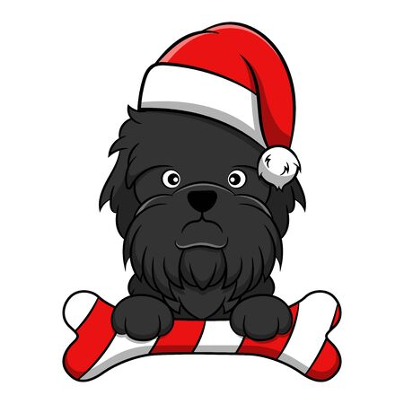 Merry Christmas Affenpinscher Cartoon Dog. Vector illustration of purebred Christmas affenpinscher dog. Illustration