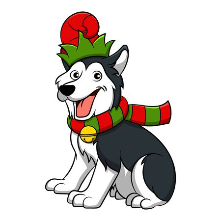 Merry Christmas Siberian Husky Cartoon Dog. Vector illustration of purebred Christmas Siberian Husky dog.