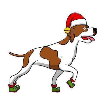 Merry Christmas Pointer Cartoon Dog. Vector illustration of purebred Christmas pointer dog.