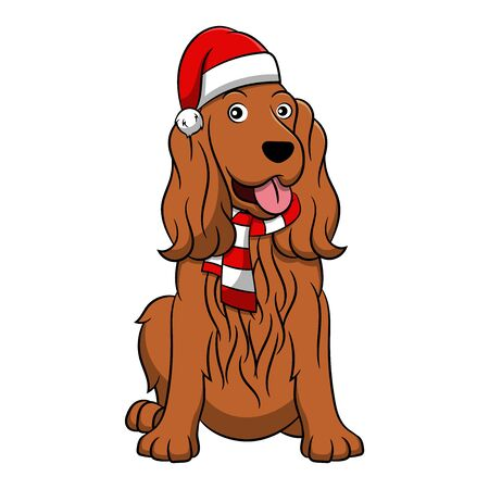 Merry Christmas Cocker Spaniel Cartoon Dog. Vector illustration of purebred Christmas cocker spaniel dog.