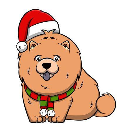 Merry Christmas Chow Chow Cartoon Dog. Vector illustration of purebred Christmas chow chow dog.