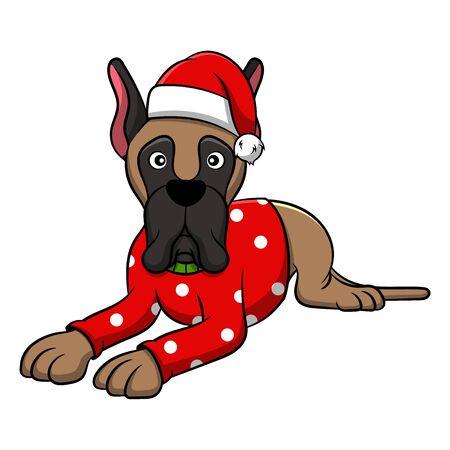 Merry Christmas Great Dane Cartoon Dog. Vector illustration of purebred Christmas great dane dog.