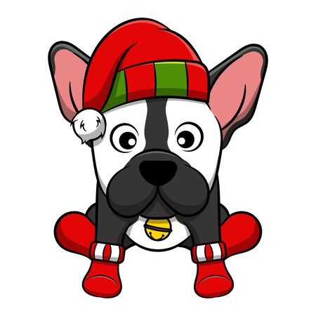 Merry Christmas French Bulldog Cartoon Dog. Vector illustration of purebred Christmas french bulldog dog. Illustration
