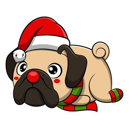 Merry Christmas Pug Cartoon Dog. Vector illustration of purebred Christmas pug dog.