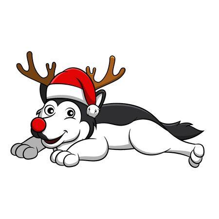 Merry Christmas Alaskan Malamute Cartoon Dog. Vector illustration of purebred Christmas alaskan malamute dog.