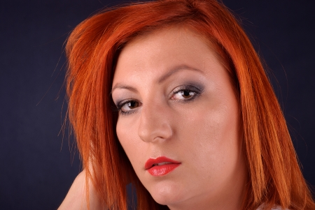 redheaded: Portrait of redheaded girl Stock Photo
