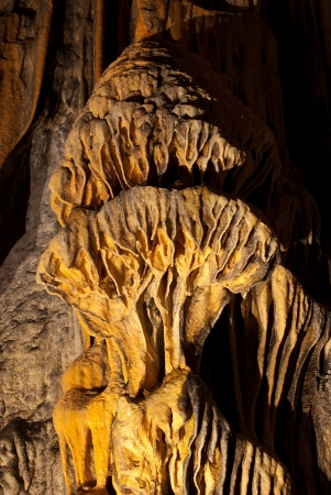 under ground: Limestone wall in a cave covered with dripstone Stock Photo