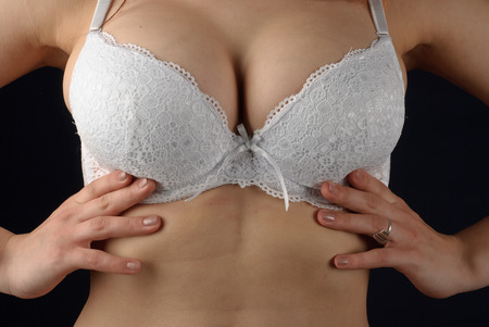 Beautiful woman breast in bra photo