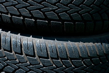 winter tires: Stack of used winter (mud and snow) tires Stock Photo