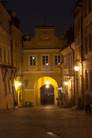 The Grodzka gate of old town in Lublin at night, Poland