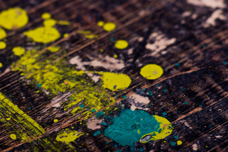 old desk: Dirty painted old black wooden desk Stock Photo
