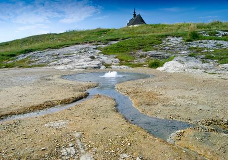 springwater: Geyser of mineral water Siva Brada around Spisskie Podhradie, Slovakia
