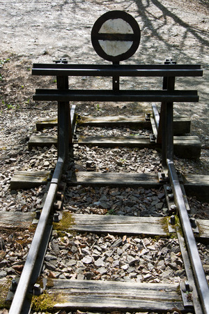 buffer: Iron buffer stop at the end of a railroad track