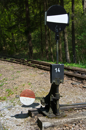 narrow gauge railway: Narrow gauge railway track switch - Beech Mountains, Hungary Stock Photo