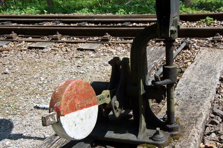 narrow gauge railroads: Narrow gauge railway track switch - Beech Mountains, Hungary Stock Photo