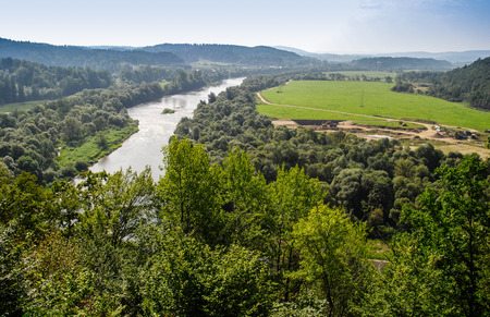 river view: View of thr river San from Sobie Mountain in Bieszczady Poland