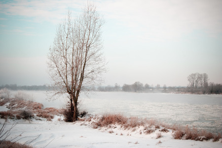 kazimierz: Vistula river near Kazimierz Dolny in Poland - vintage and vignette effect