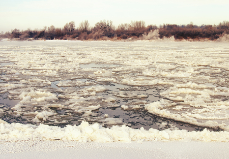 kazimierz: River Vistula near Kazimierz Poland - vintage effect