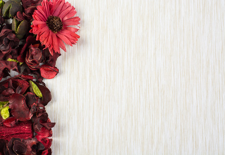 potpourri: Frame of potpourri on beige canvas background