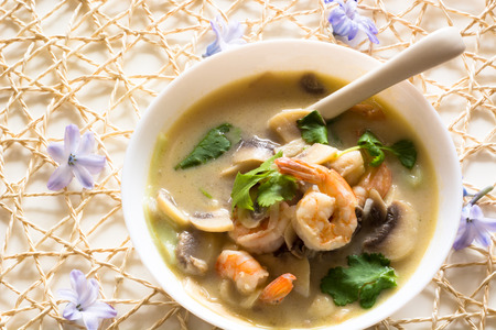 food and beverages: Tom Kha Thai soup with mushrooms and prawns