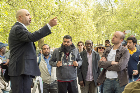 LONDON - MAY 15: Hyde Park Speakers Corner during discussion on May 15, 2016, London. Editorial