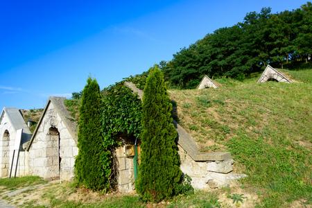 Wine cellars in Hercegk?t Button Hill Tokaji Tokaj region in Hungary