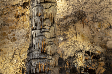 Interior of Baradla Cave in Aggtelek, Hungary. Lime infiltration on the wall
